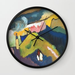 Wassily Kandinsky Mountain landscape with church Wall Clock