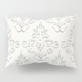 Hand Painted Watercolor Damask Pattern - Light Neutral Gray Pillow Sham