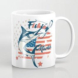 Design with marlin fish on USA flag background Coffee Mug