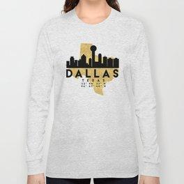 DALLAS TEXAS SILHOUETTE SKYLINE MAP ART Long Sleeve T-shirt
