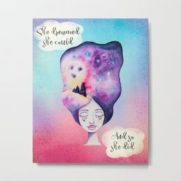 She Dreamed she Could - Whimsical Galaxy Night Sky Watercolor Moon Girl Metal Print
