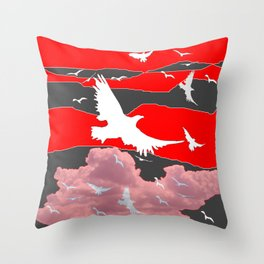 WHITE BIRDS IN FLIGHT RED-GREY SKY ABSTRACT Throw Pillow