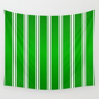 racing Wall Tapestries featuring Racing Green Stripes  by Justbyjulie
