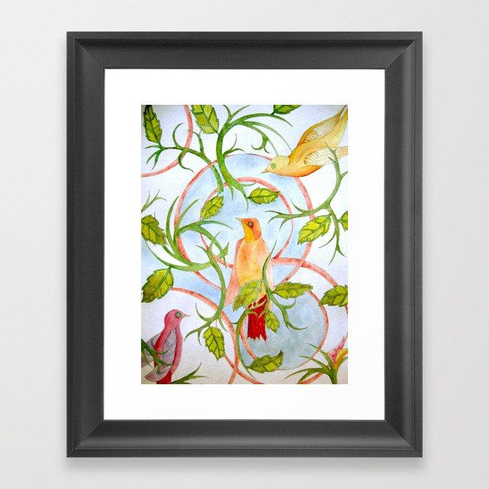 Water Color Bird Paper Framed Art Print