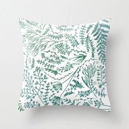 GREEN HERBS Throw Pillow