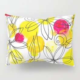 Pineapple Upside Down Floral: Bright Paint Spots with Black Ink Floral Elements Pillow Sham