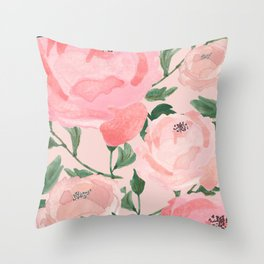 Watercolor Peonies with Blush Background Throw Pillow
