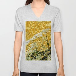GOLDEN LACE FLOWERS FROM SOCIETY6 BY SHARLESART. Unisex V-Neck