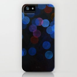 No. 45 - Print of Deep Blue Bokeh Inspired Modern Abstract Painting  iPhone Case