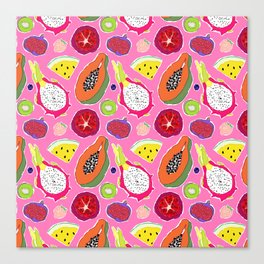 Seedy Fruits in Hot Neon Pink Canvas Print