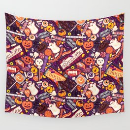 Creepy Halloween Candy on Purple Wall Tapestry