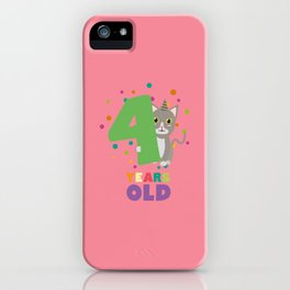 Four Years fourth Birthday Party Cat D0sab iPhone Case