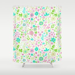 Pastel summer, floral field Shower Curtain