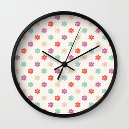 Abstract ivory teal orange violet cute floral Wall Clock