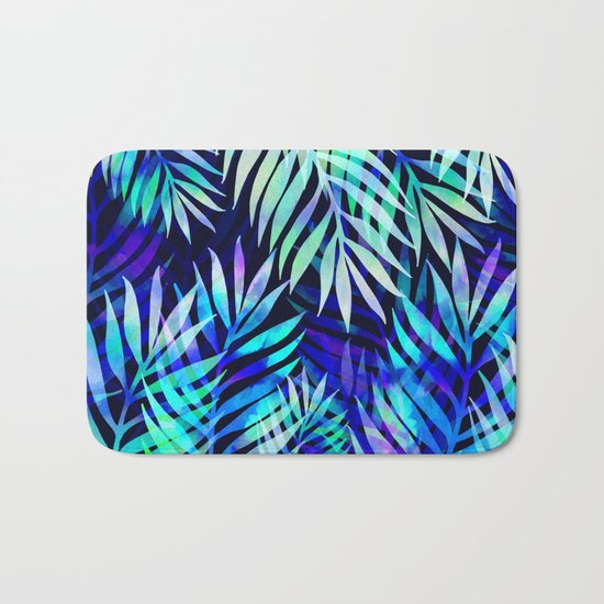 Watercolor palm pattern Bath Mat