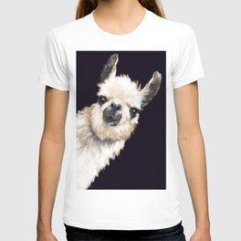 Sneaky Llama in Black T-shirt