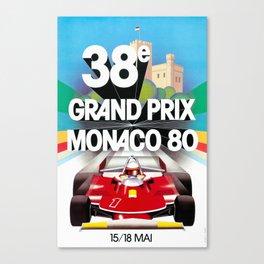 Monaco Gran Prix 38e 1980 Vintage Poster, Artwork for Wall Art, Prints, Poster, Tshirts, Men, Women, Kids Canvas Print