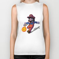 super mario Biker Tanks featuring Mario by DROIDMONKEY