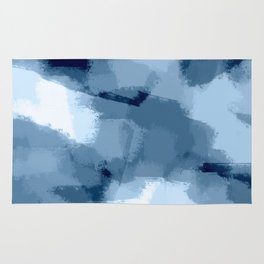 Amaya - navy blue abstract art Rug
