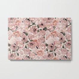 Vintage Floral Allover In Peach Pastels Metal Print