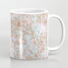 Mint Blush & Rose Gold Metallic Marble Texture Coffee Mug