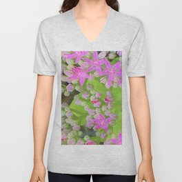 Hot Pink Succulent Sedum with Fleshy Green Leaves Unisex V-Neck