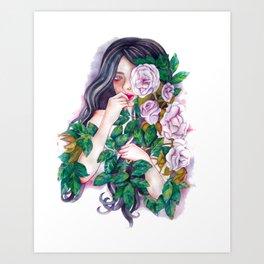 Pale Roses Art Print