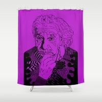 physics Shower Curtains featuring Albert Einstein - lilac by Rebecca Bear