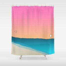 Beach Sunset with birds 2 Shower Curtain