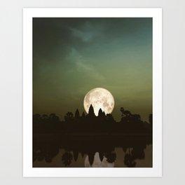 Angkor Wat Super Moon Art Print