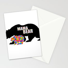 Mama Bear Autism Awareness Support Stationery Cards