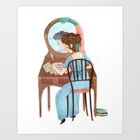 jane austen Art Prints featuring Jane Austen by Irena Freitas