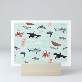 Ocean Life - Light Blue Mini Art Print