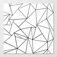 Abstract Dotted Lines Black and White Canvas Print