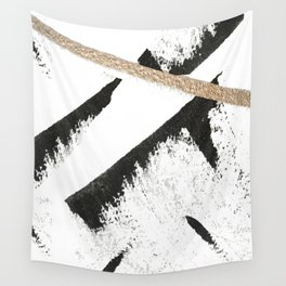 Sassy: a minimal abstract mixed-media piece in black, white, and gold by Alyssa Hamilton Art Wall Tapestry