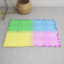 Color Blocks in Blue, Pink, Green & Yellow - Wave Saw Design Rug