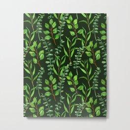 Eucalyptus on dark green Metal Print