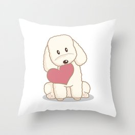 Toy Poodle Dog with Love Illustration Throw Pillow