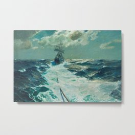 Under Tow on a Moonlit Night nautical landscape ocean painting by Julius Olsson Metal Print