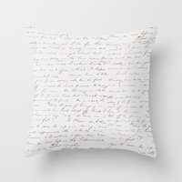 writing Throw Pillows featuring Vintage Writing by ForeverCreativity