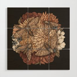 Flowers and Moths Wood Wall Art