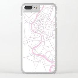 Bangkok Thailand Minimal Street Map - Pastel Pink and White II Clear iPhone Case