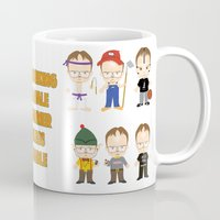 dwight schrute Mugs featuring Dwight Schrute Two Words by Alex Dutton