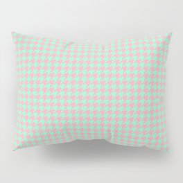 Light Green Pink Houndstooth Pattern Pillow Sham