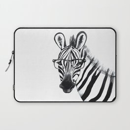 Zebra with glasses, black and white Laptop Sleeve