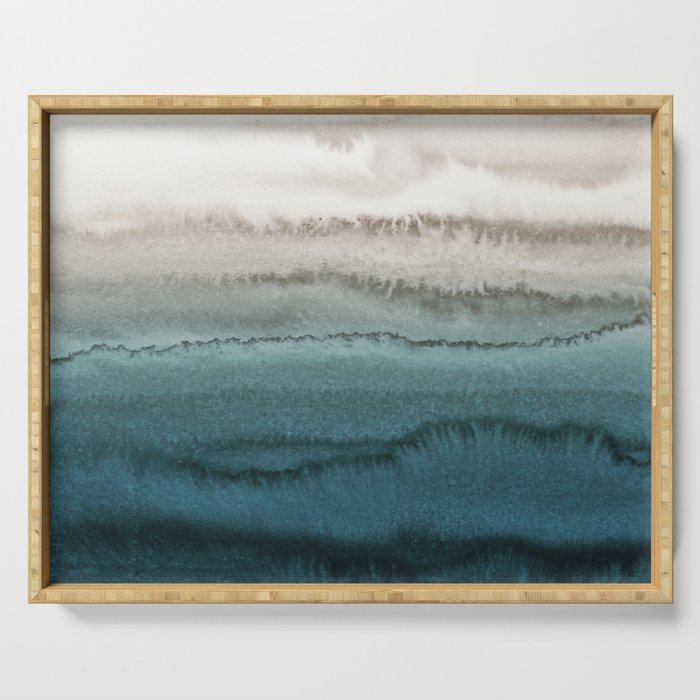 WITHIN THE TIDES - CRASHING WAVES TEAL Serving Tray