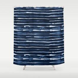 Electric Ink Indigo Navy Stripes Shower Curtain