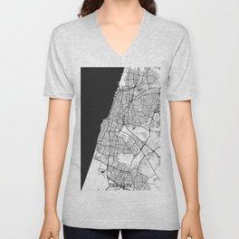 Tel Aviv Map Gray Unisex V-Neck