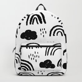Black and white rainbow clouds Backpack