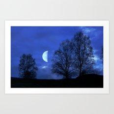 Moon between Trees  - JUSTART © Art Print
